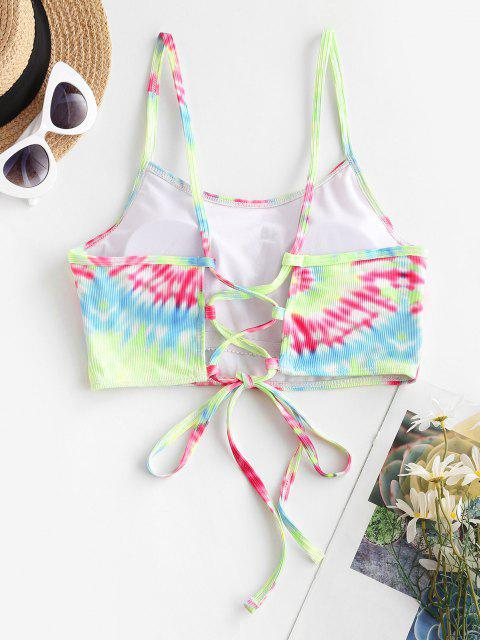 ZAFUL Ribbed Tie Dye Lace Up Bikini Top - متعدد S Mobile