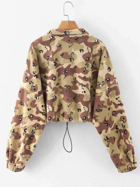 hot Half Zip Camo Fleece Cropped Sweatshirt - ACU CAMOUFLAGE M Mobile