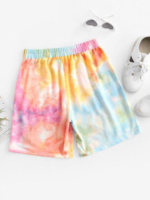 ZAFUL Krawattenfärbende Crop Shorts mit Hoher Taille - Multi-A S Mobile