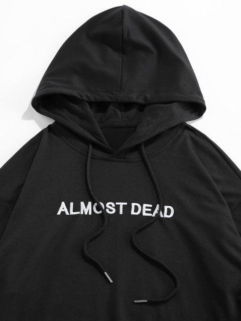 women's ZAFUL Rose Almost Dead Embroidery Hoodie - BLACK M Mobile