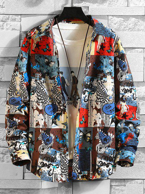 outfits Animal Butterfly Girl Print Shirt - MULTI-A 2XL Mobile