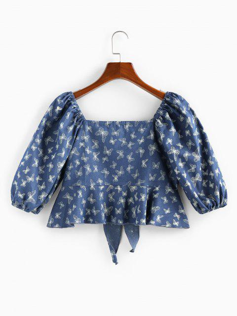 fancy ZAFUL Front Tie Flounce Butterfly Print Blouse - BLUE XL Mobile