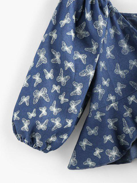 affordable ZAFUL Front Tie Flounce Butterfly Print Blouse - BLUE M Mobile