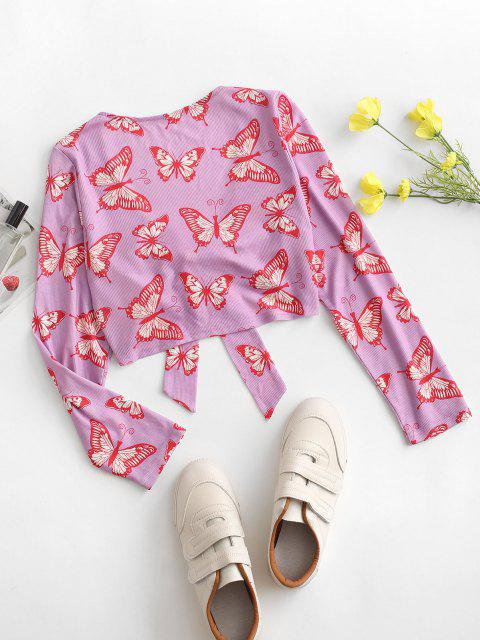 sale ZAFUL Front Tie Butterfly Print Ribbed Cardigan - MAUVE S Mobile
