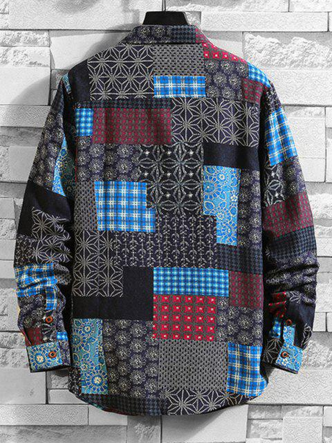 fancy Tribal Floral Patchwork Print Long Sleeve Shirt - MULTI-A 2XL Mobile