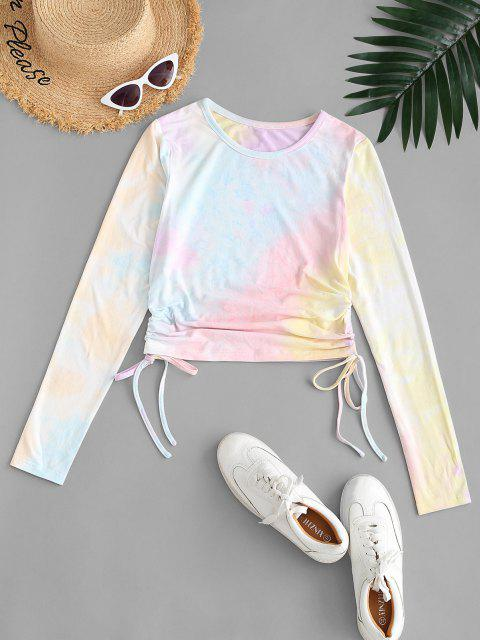 lady ZAFUL Tie Dye Cinched Long Sleeve T-shirt - MULTI-A M Mobile