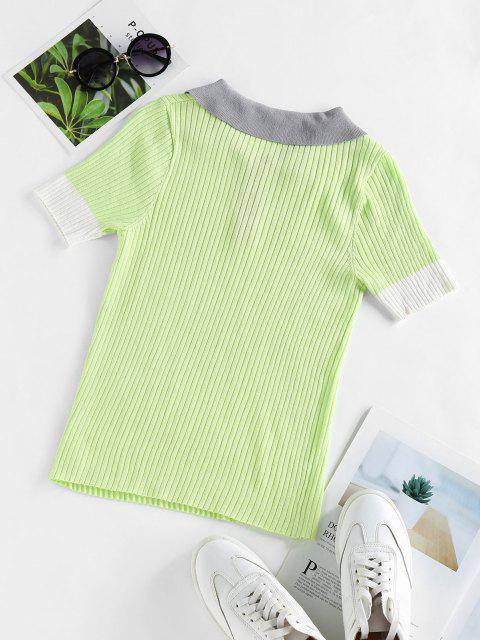 chic ZAFUL Contrast Trim Ribbed Knitwear - LIGHT GREEN M Mobile