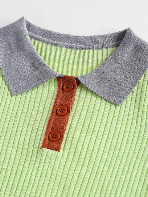buy ZAFUL Contrast Trim Ribbed Knitwear - LIGHT GREEN XL Mobile