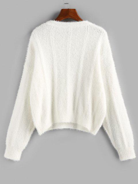 online ZAFUL Plain Drop Shoulder Fuzzy Sweater - WHITE L Mobile