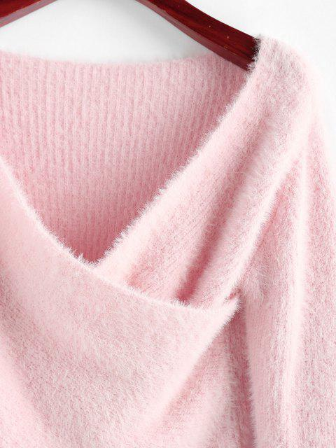 sale ZAFUL Fuzzy Crossover Plunging Crop Sweater - LIGHT PINK S Mobile