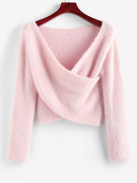ZAFUL Unscharfe Crossover Tiefer Crop Pullover - Hell-Pink L Mobile