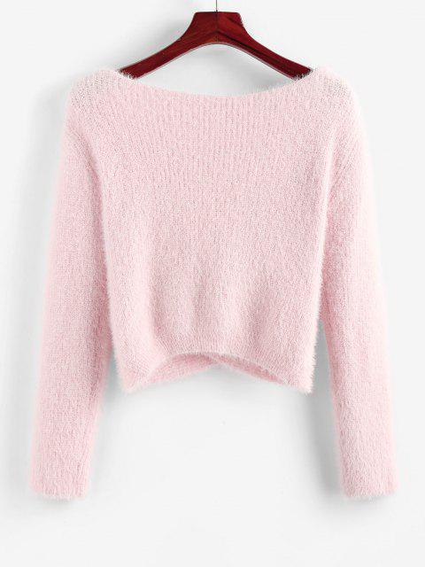fashion ZAFUL Fuzzy Crossover Plunging Crop Sweater - LIGHT PINK L Mobile