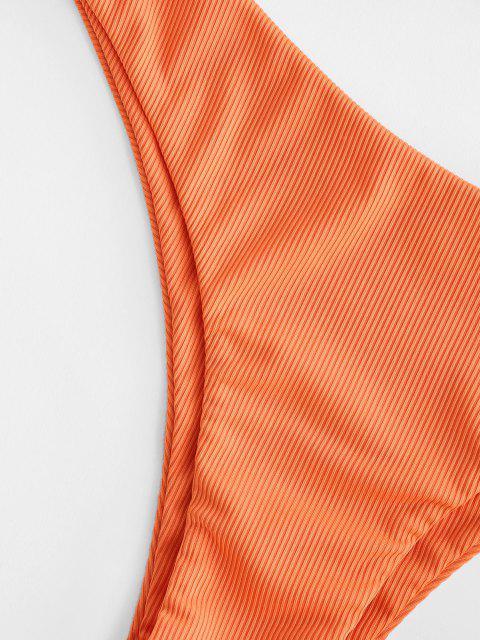 new ZAFUL Ribbed Front Twist Ruffled Hem Tankini Swimwear - ORANGE S Mobile