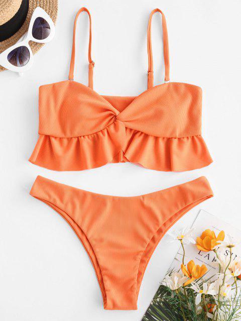 ZAFUL Gerippte Tankini Badebekleidung mit Rüschensaum - Orange S Mobile