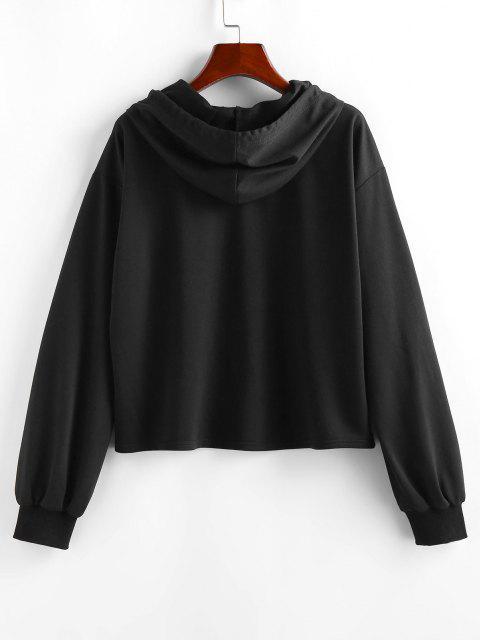 hot ZAFUL Dragon Print Oriental Hoodie - BLACK S Mobile