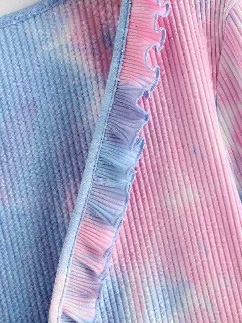 women ZAFUL Ribbed Tie Dye Ruffle Tie Front Cardigan - DEEP PEACH L Mobile