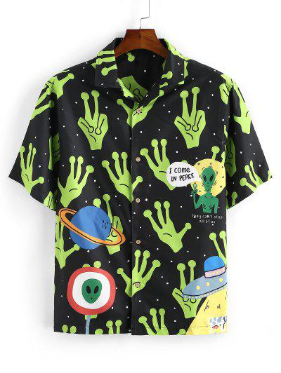 Cartoon Extra-terrestrial Printed Shirt - Black L