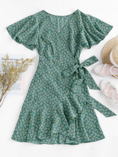 ZAFUL Ditsy Print Ruffle Butterfly Sleeve Tulip Dress - Sea Turtle Green L