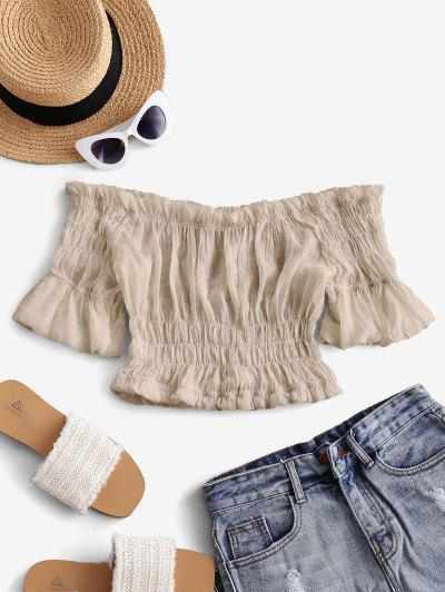 Solid Off Shoulder Smocked Beach Top - Light Coffee