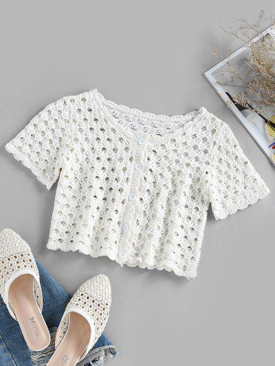 ZAFUL Button Up Crochet Cropped T Shirt - White S
