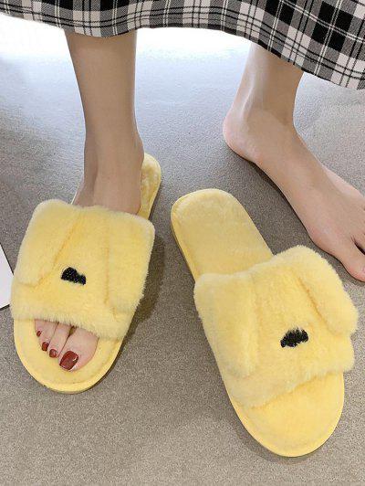 Animal Ear Shape Faux Fur Slippers - Yellow Eu 37