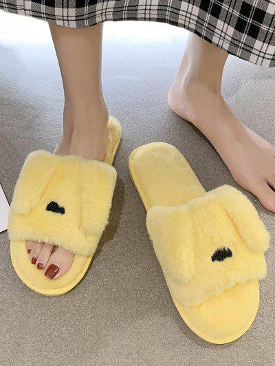 Animal Ear Shape Faux Fur Slippers - Yellow Eu 39