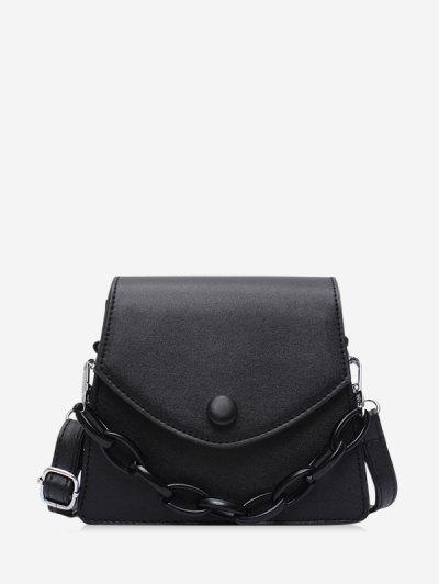 Chain Embellished Mini Flap Crossbody Bag - Black