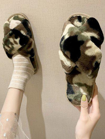 Camouflage Cross Faux Fur Slippers - Camouflage Green Eu 37