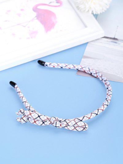 Bowknot Argyle Pattern Thin Hairband - White