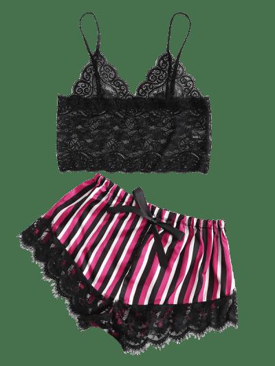 Lace Sati Striped Sheer Eyelash Pajamas Set
