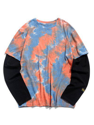 Tie Dye Print Applique Doctor Sleeve T-shirt - Orange 2xl