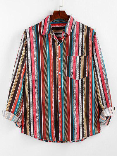 ZAFUL Geometric Striped Pocket Lounge Long Sleeve Shirt - Multi 2xl