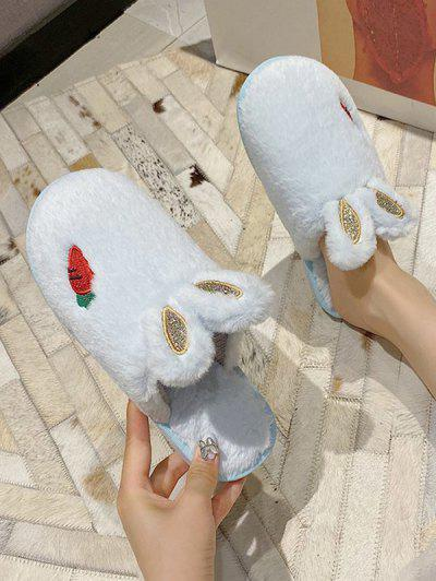 Faux Fur Rabbit Ear Slippers - Light Aquamarine Eu 39