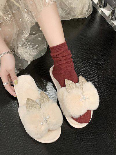 Rabbit Ear Bowknot Plush Slippers - Beige Eu 39
