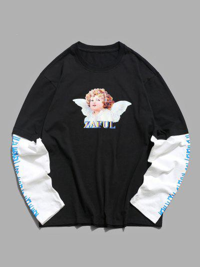 Doctor Sleeve Angel Print Casual T-shirt - Black M
