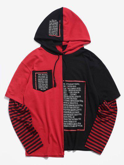 Sweat-Shirt à Capuche En Fausse Deux-PiècesLettreImprimée - Rouge 2xl