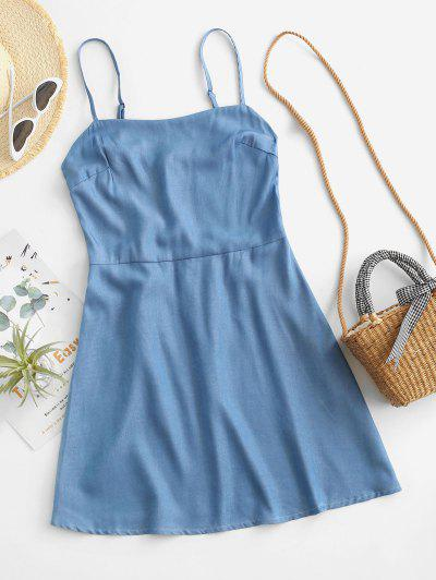 ZAFUL Chambray Smocked Back Cami Dress - Light Blue S