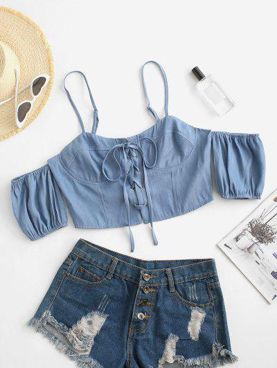 Chambray Lace-up Cold Shoulder Zip Cupped Top - Light Blue Xl