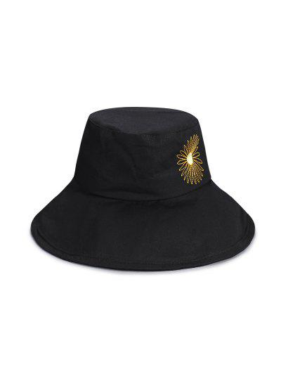 Sunflower Pattern Bucket Hat - Black
