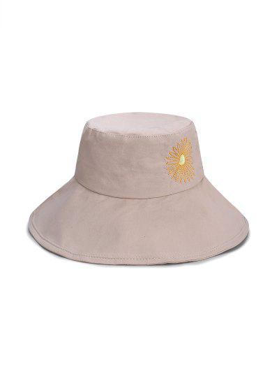 Sunflower Pattern Bucket Hat - Light Khaki