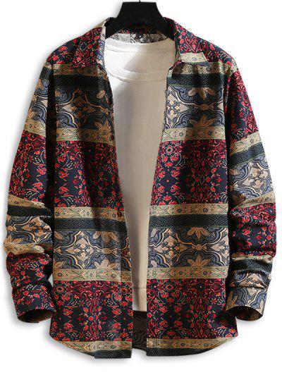 Племенной цветочный принт На пуговицах Рубашка - Многоцветный-a L