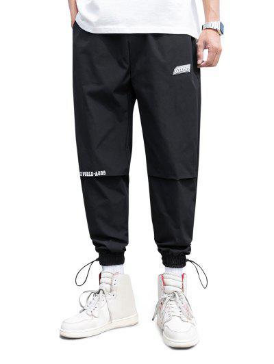 Pantalon De Jogging à Taille ElastiqueLettreImprimée - Noir Xs