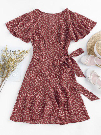 ZAFUL Ditsy Print Ruffle Butterfly Sleeve Tulip Dress - Red M