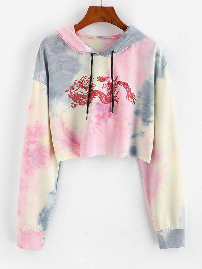 Dragon Print Oriental Tie Dye Drawstring Hoodie - Light Pink M