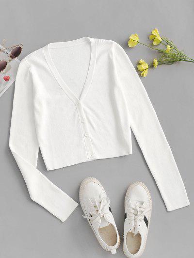 Button Up Basic-Cardigan - Kristall-creme M