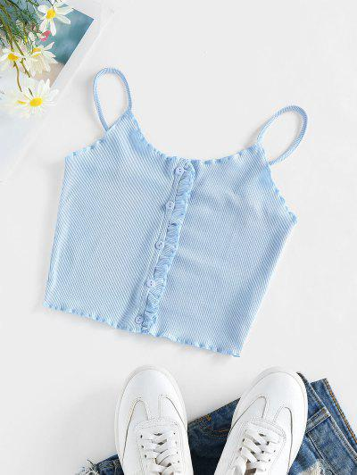ZAFUL Ruffle Ribbed Crop Top - Light Blue L