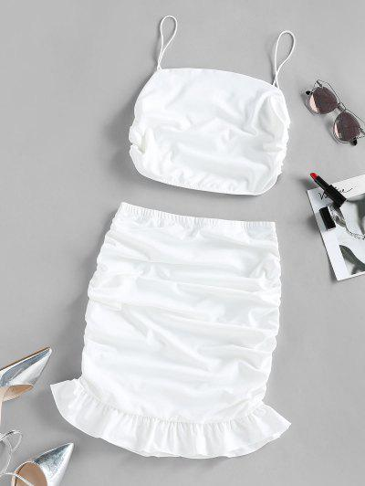 Ruched Flounce Two Piece Skirt Set - White L