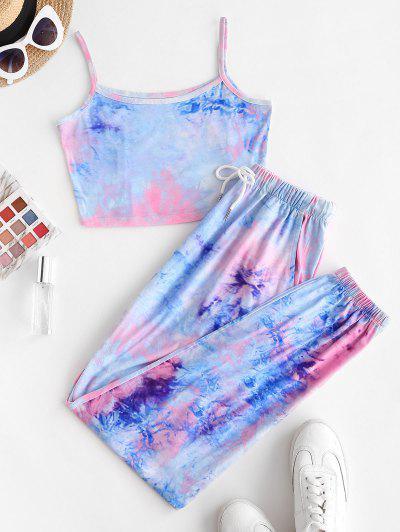 ZAFUL Tie Dye Pocket Drawstring Jogger Pants Set - Blue S