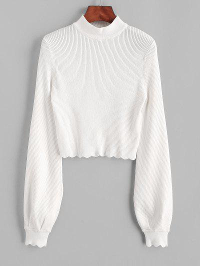 Mock Neck Ribbed Scalloped Cropped Sweater - Crystal Cream M