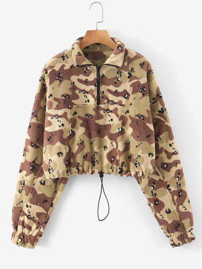 Half Zip Camo Fleece Cropped Sweatshirt - Acu Camouflage M